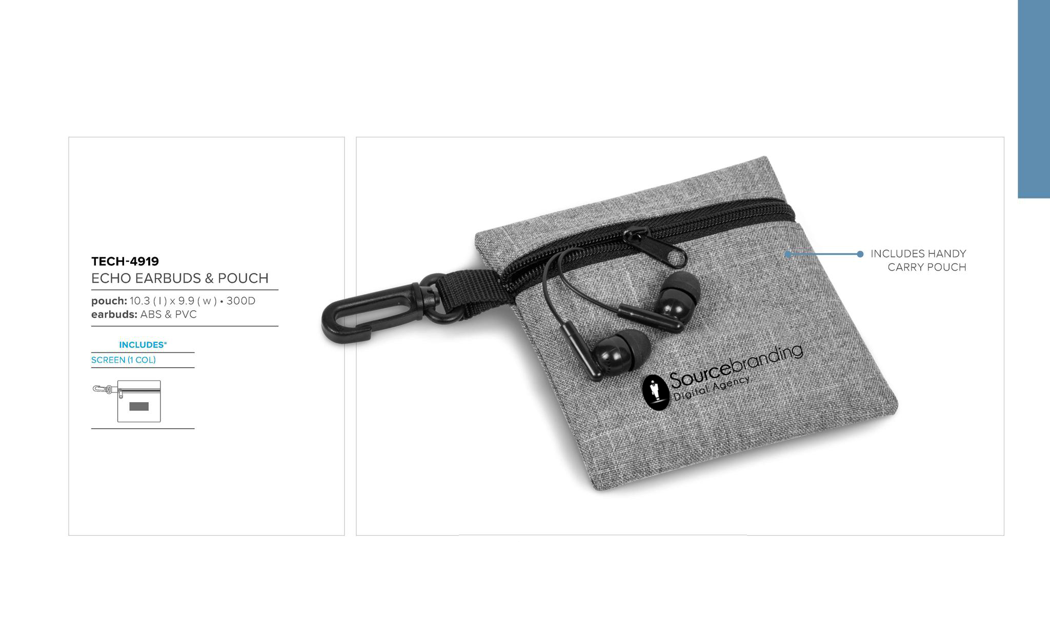 Sourcebranding earbuds and pouch